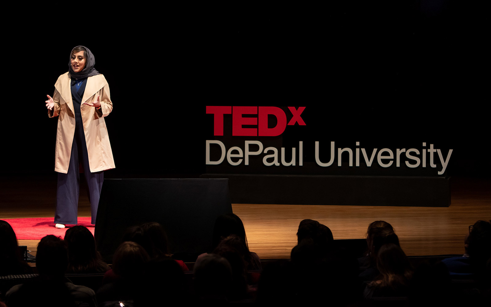 A speaker at TEDxDePaul University in 2019