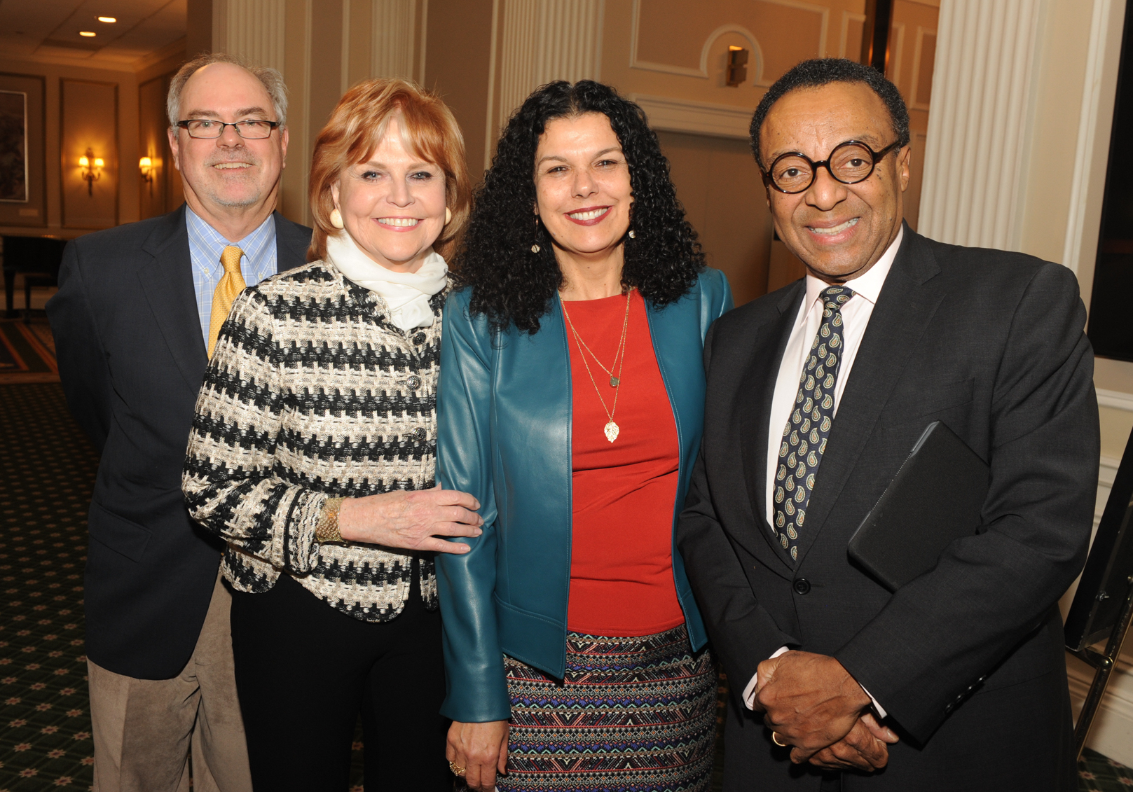 ​(from L to R) Center for Journalism Co-Directors Don Moseley and Carol Marin, College of Communication Dean Salma Ghanem, and Clarence Page. (Photo by Paul Berg.)