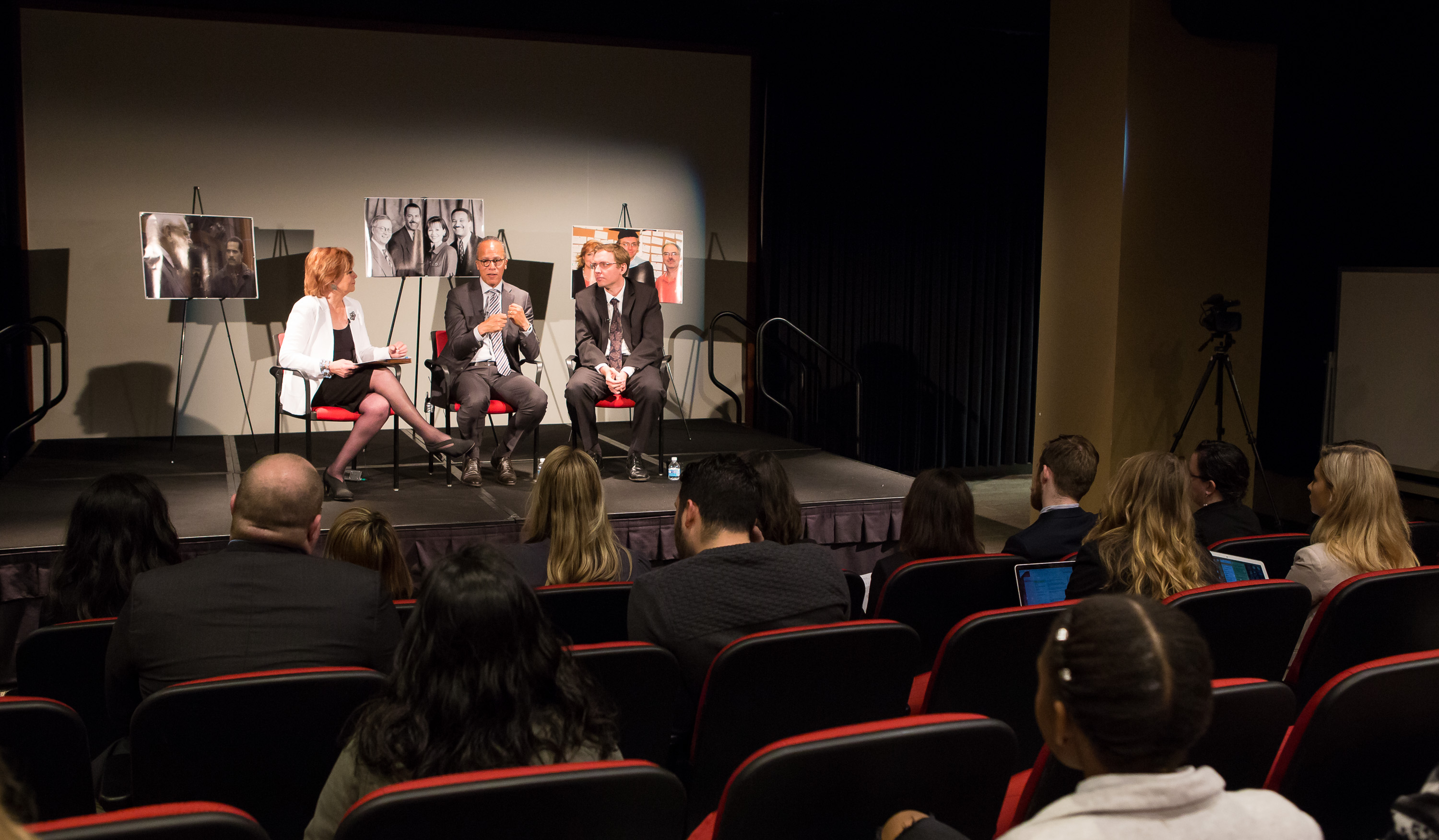 DePaul Journalism students listen to a conversation with Carol Marin, Lester Holt and Ben Welsh
