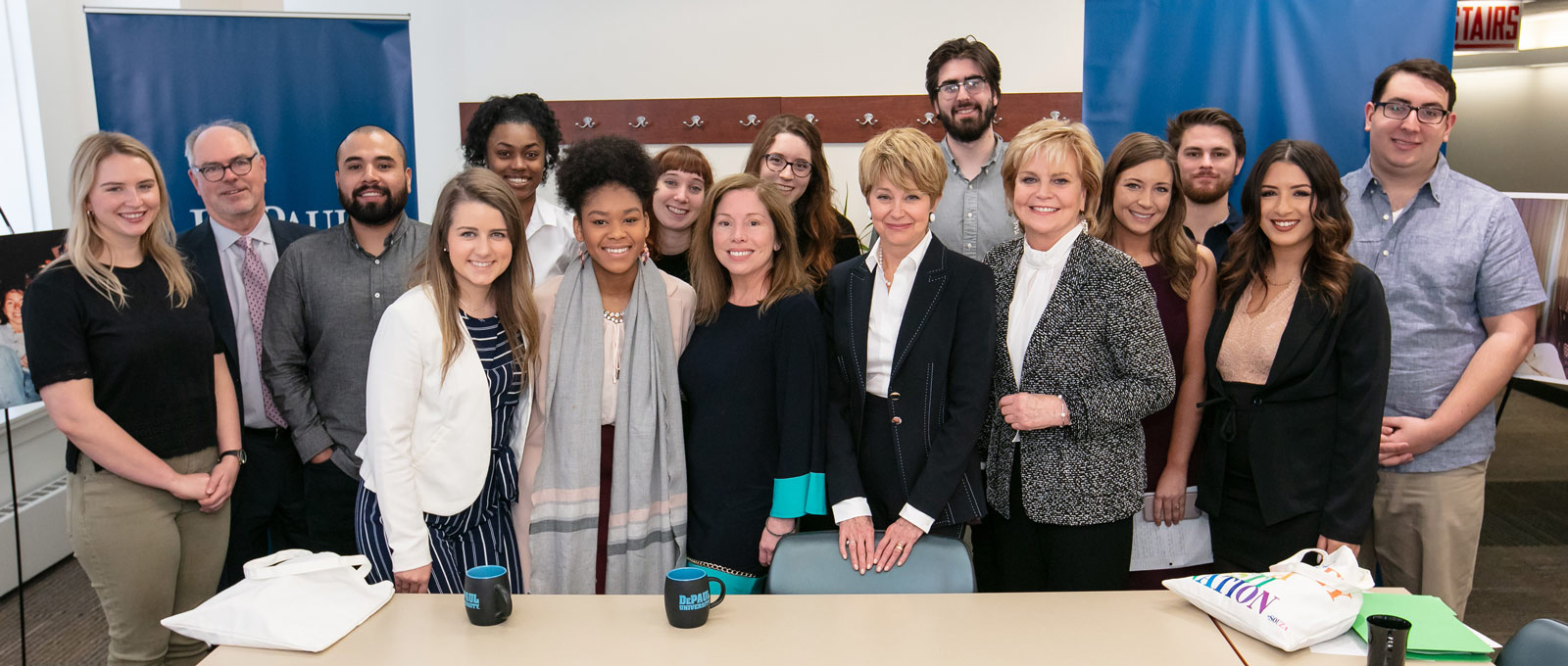 Jane Pauley and Ann Pistone with DePaul students, 2018