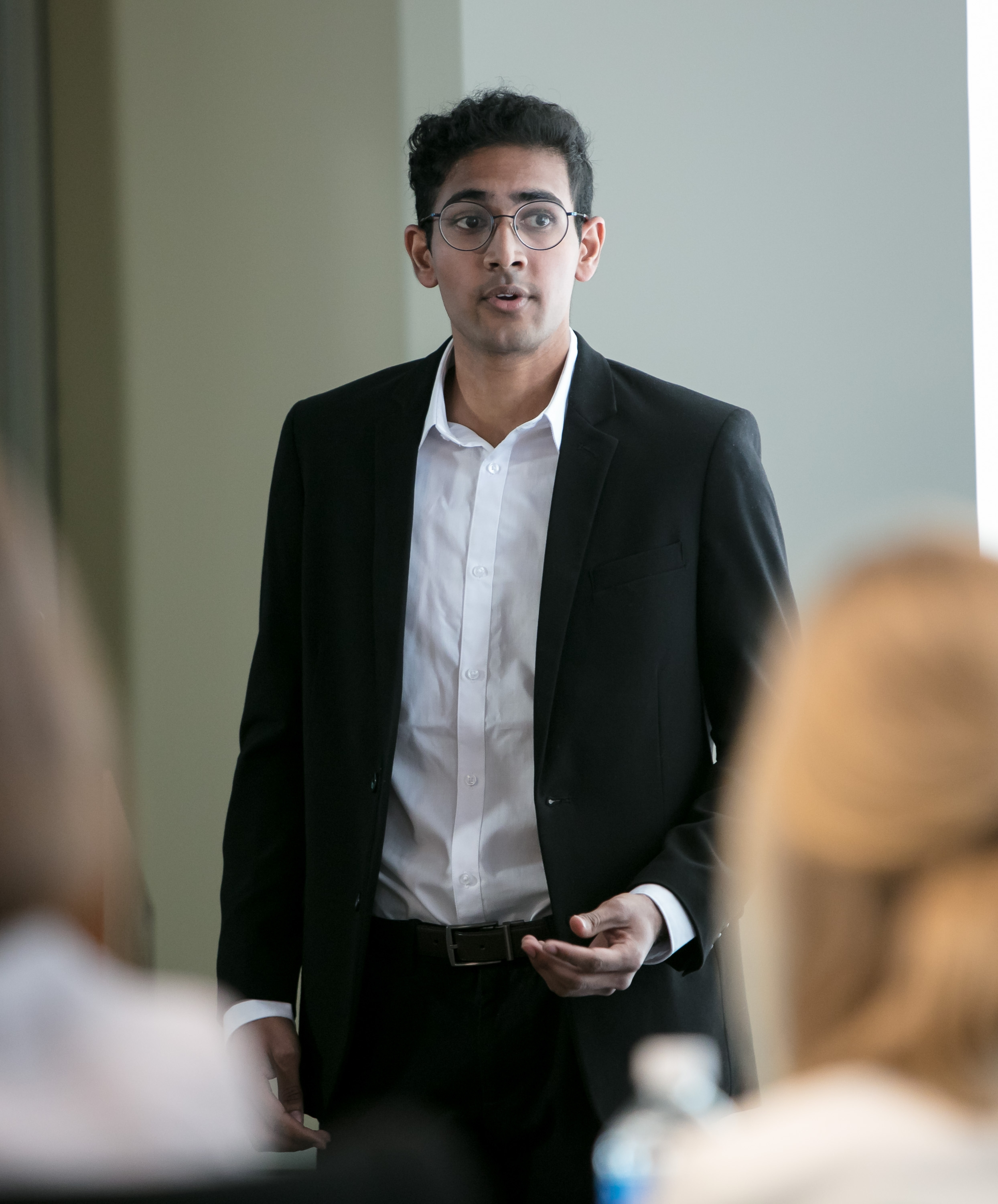 Nikil Bontu, a student in PRAD 393, Special Topics in Public Relations and Advertising, presents to FOX Sports, 21st Century Fox and Major League Baseball executives. (DePaul University/Jeff Carrion)