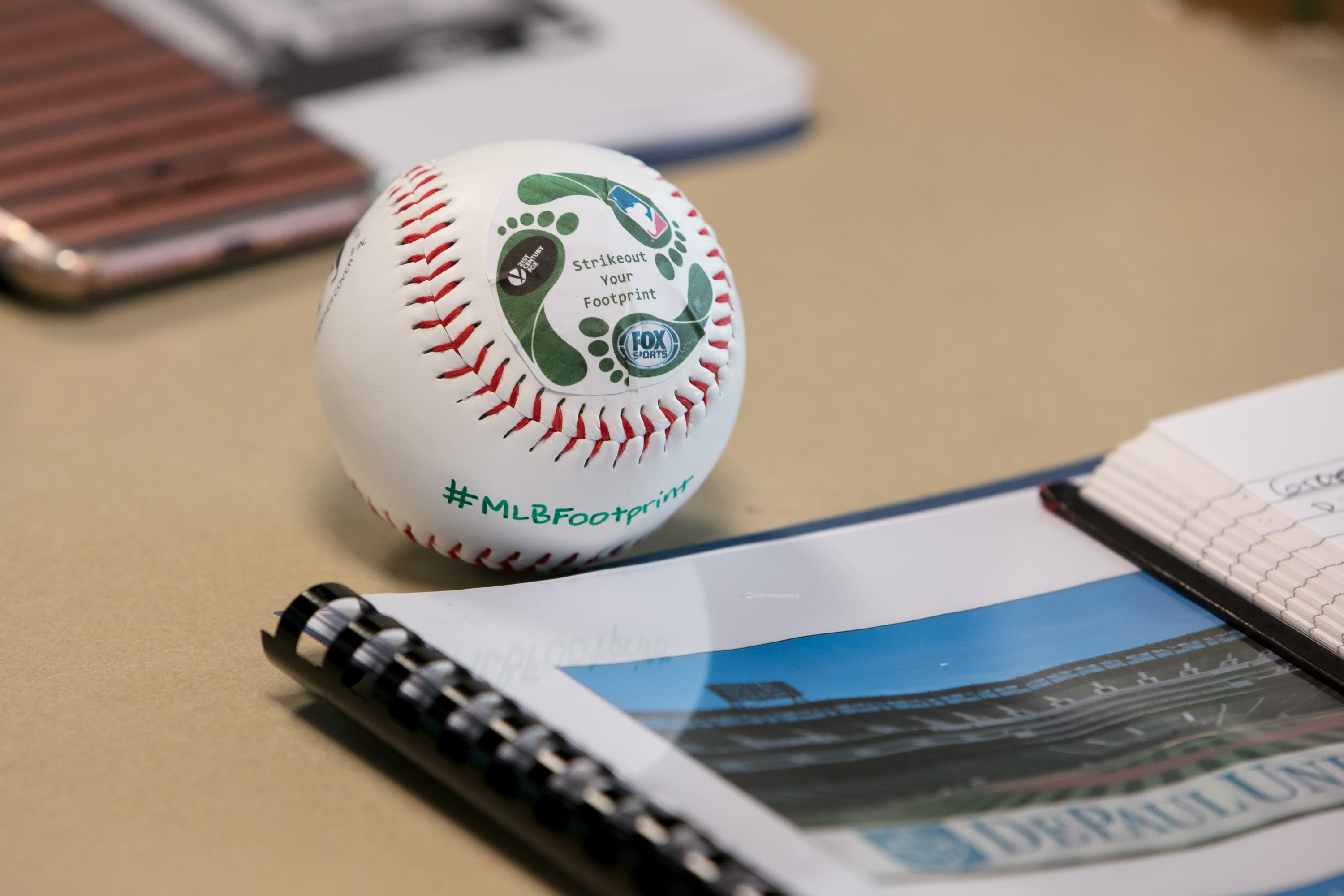 A sample baseball illustrating the students' sustainability initiatives. (DePaul University/Jeff Carrion)