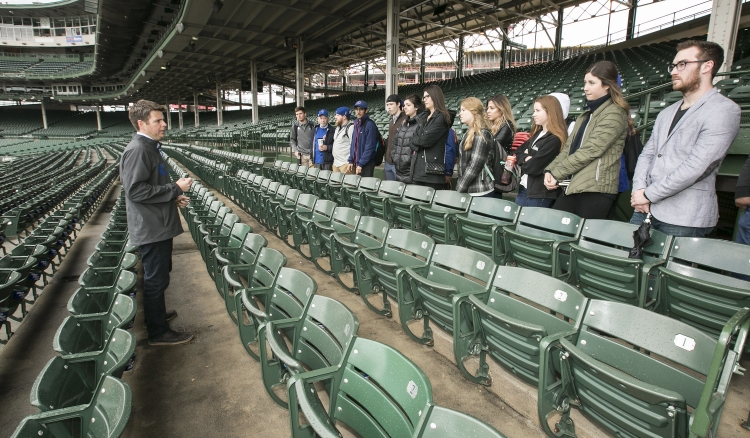 PRAD students at Wrigley. Photo by Jeff Carrion, DePaul University.