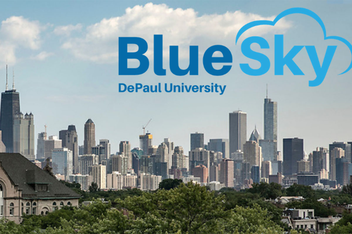 Blue Sky logo with Chicago skyline